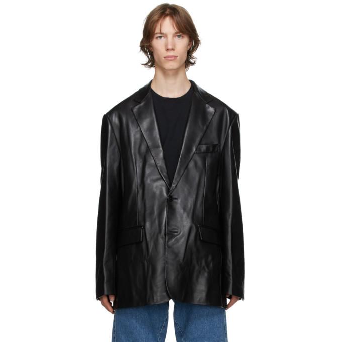 Photo: VETEMENTS Black Leather Suit Jacket