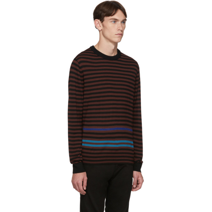 PS by Paul Smith Black and Burgundy Merino Stripe Sweater