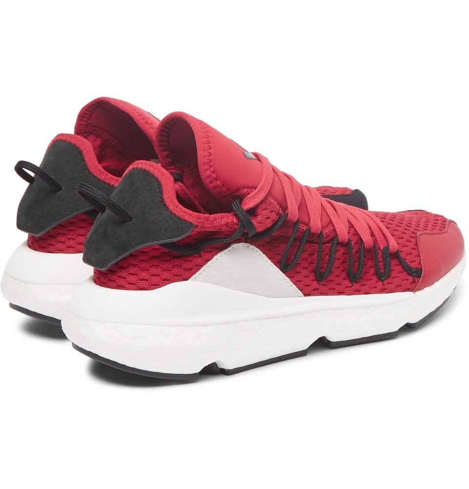 Y-3 - Kusari Suede-Trimmed Primeknit Sneakers - Men - Red