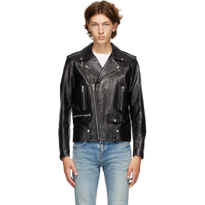 Photo: Saint Laurent Black Leather Classic Biker Jacket