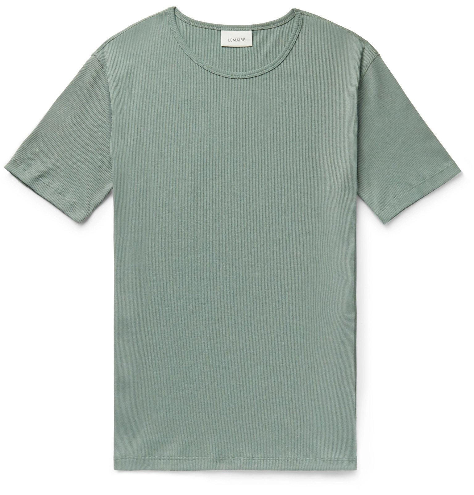 Photo: Lemaire - Ribbed Organic Cotton-Blend T-Shirt - Green
