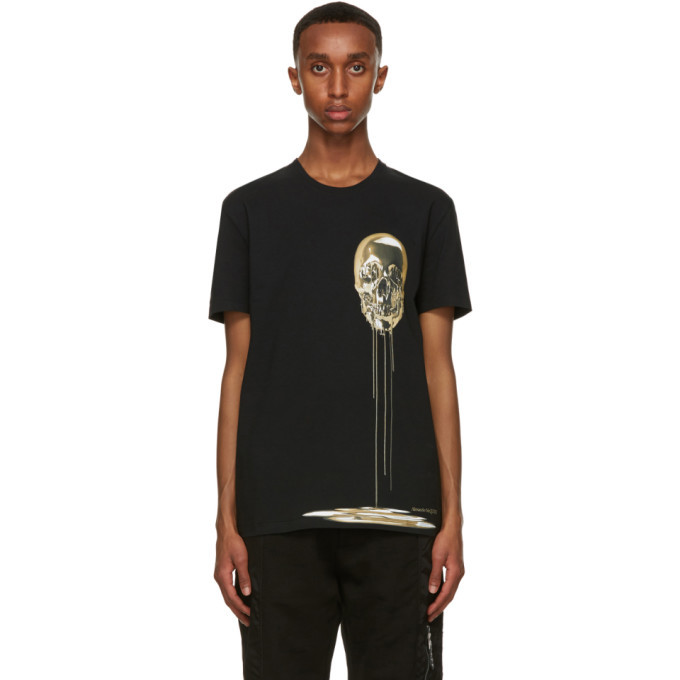 Photo: Alexander McQueen Black and Gold Skull Print T-Shirt