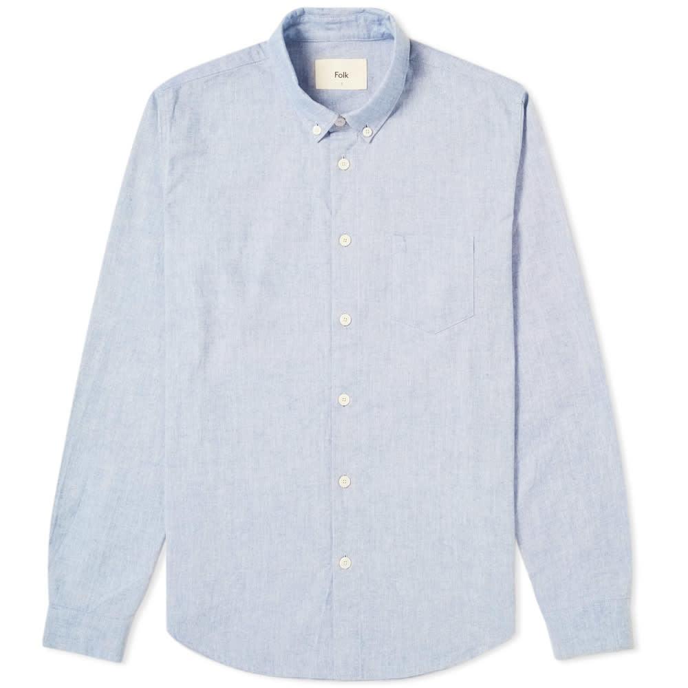 Photo: Folk Relaxed Fit Button Down Shirt Blue Melange