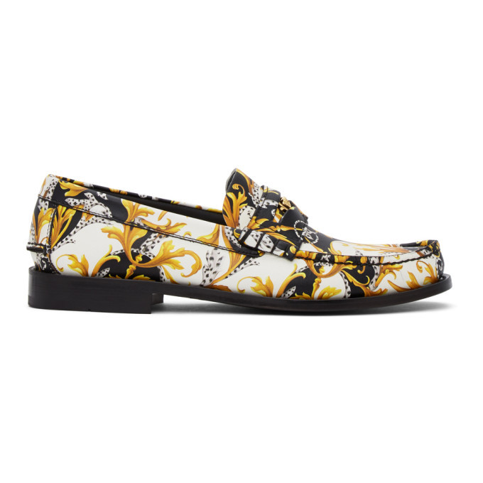 Photo: Versace Black and White Barocco Loafers
