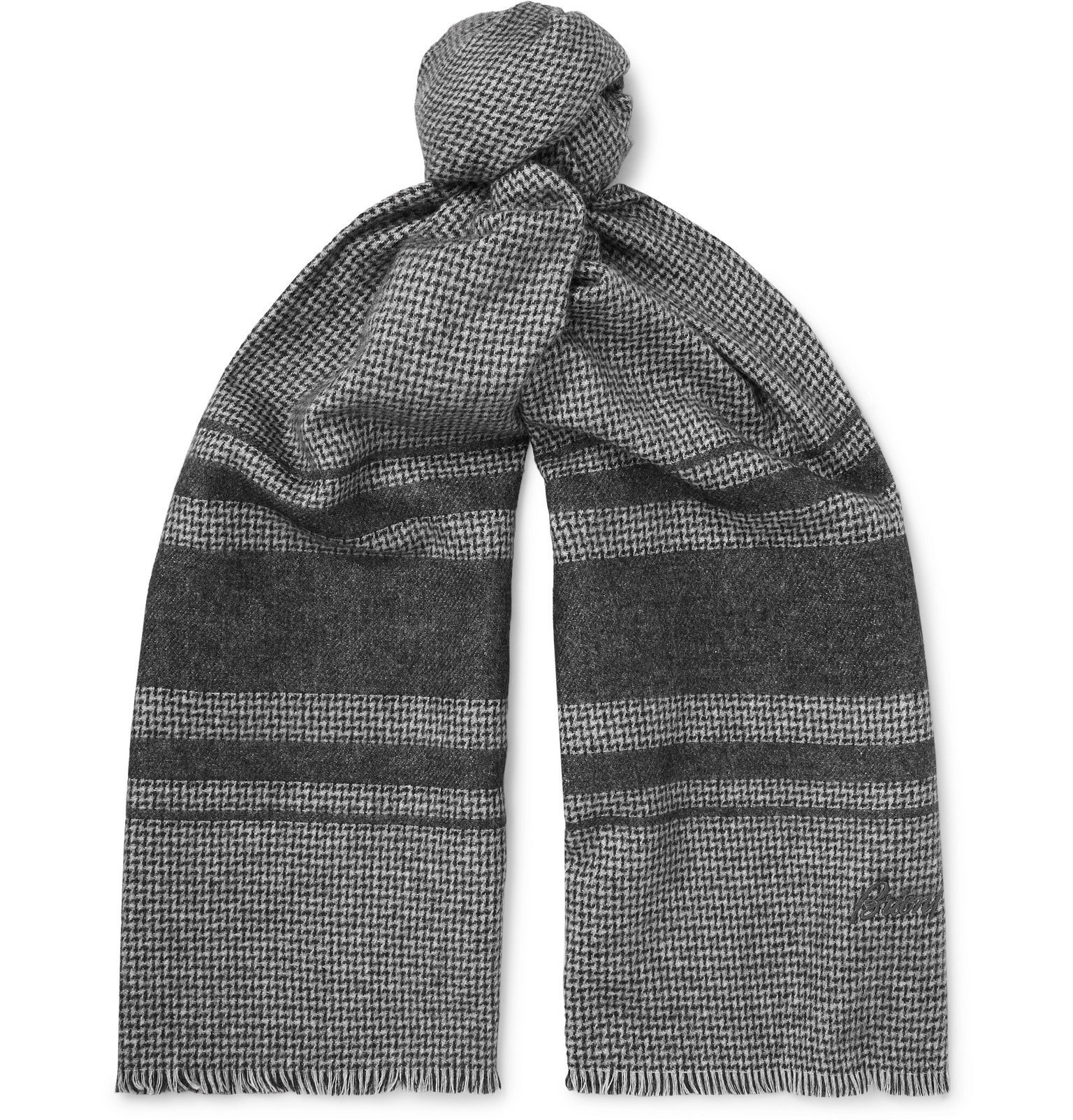 Photo: Brioni - Logo-Embroidered Striped Silk and Cashmere-Blend Scarf - Blue