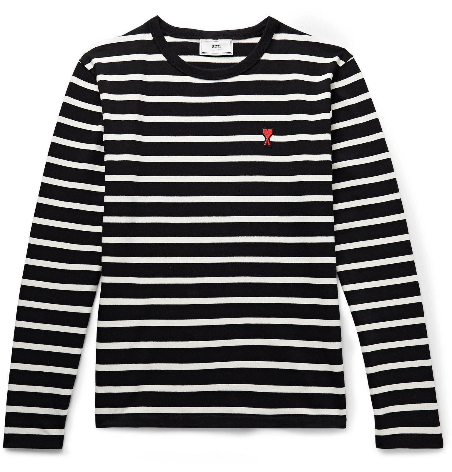 Photo: AMI - Logo-Appliquéd Striped Cotton-Jersey T-Shirt - Black