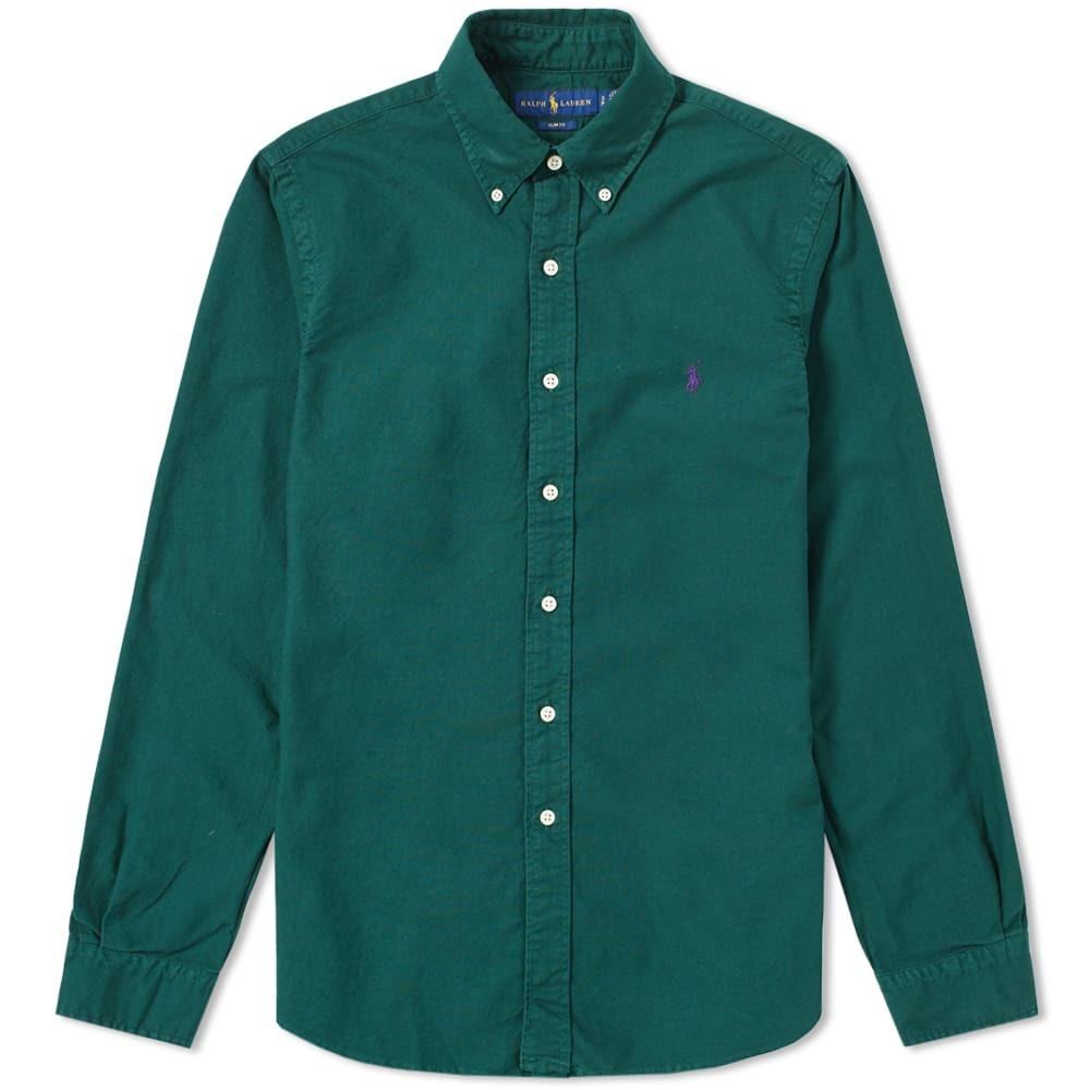 Photo: Polo Ralph Lauren Slim Fit Garment Dyed Button Down Shirt Green