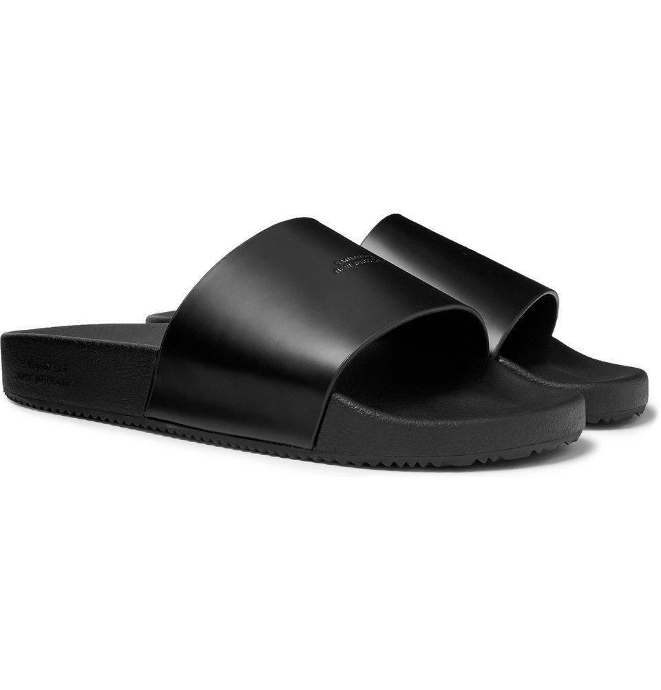 Photo: Saturdays NYC - Logo-Embossed Leather Slides - Black