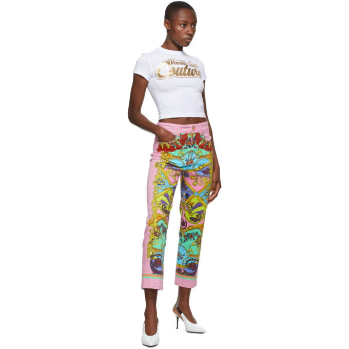 Versace Jeans Couture Pink Belts Print Jeans