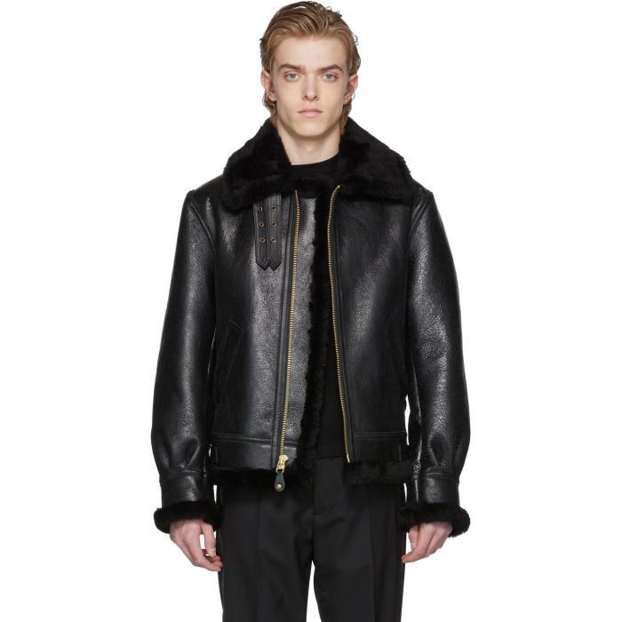 Photo: Schott Black B-3 Shearling Jacket