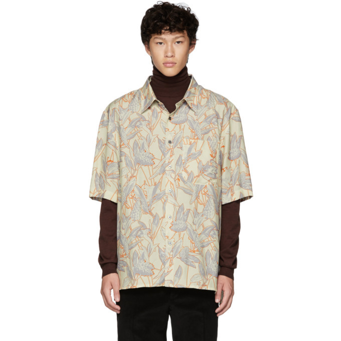 Photo: Lanvin White and Orange Oversized Print Shirt