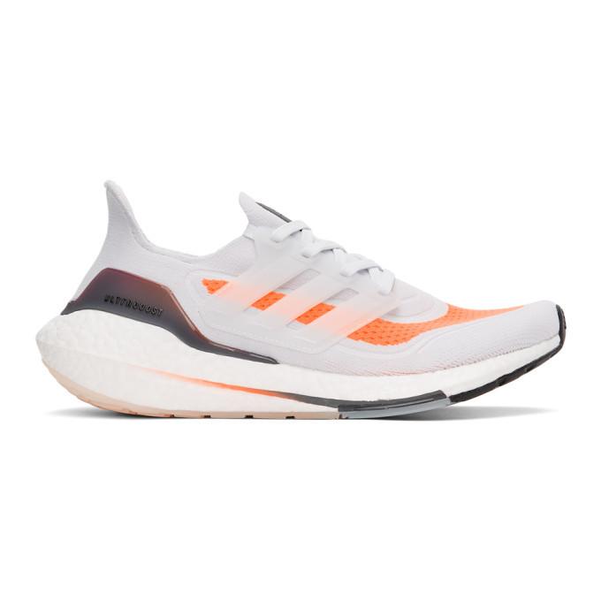 Photo: adidas Originals Grey and Orange Ultraboost 21 Sneakers