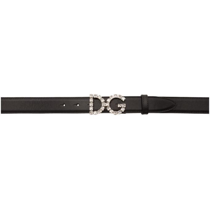 Photo: Dolce and Gabbana Black Crystal Logo Belt