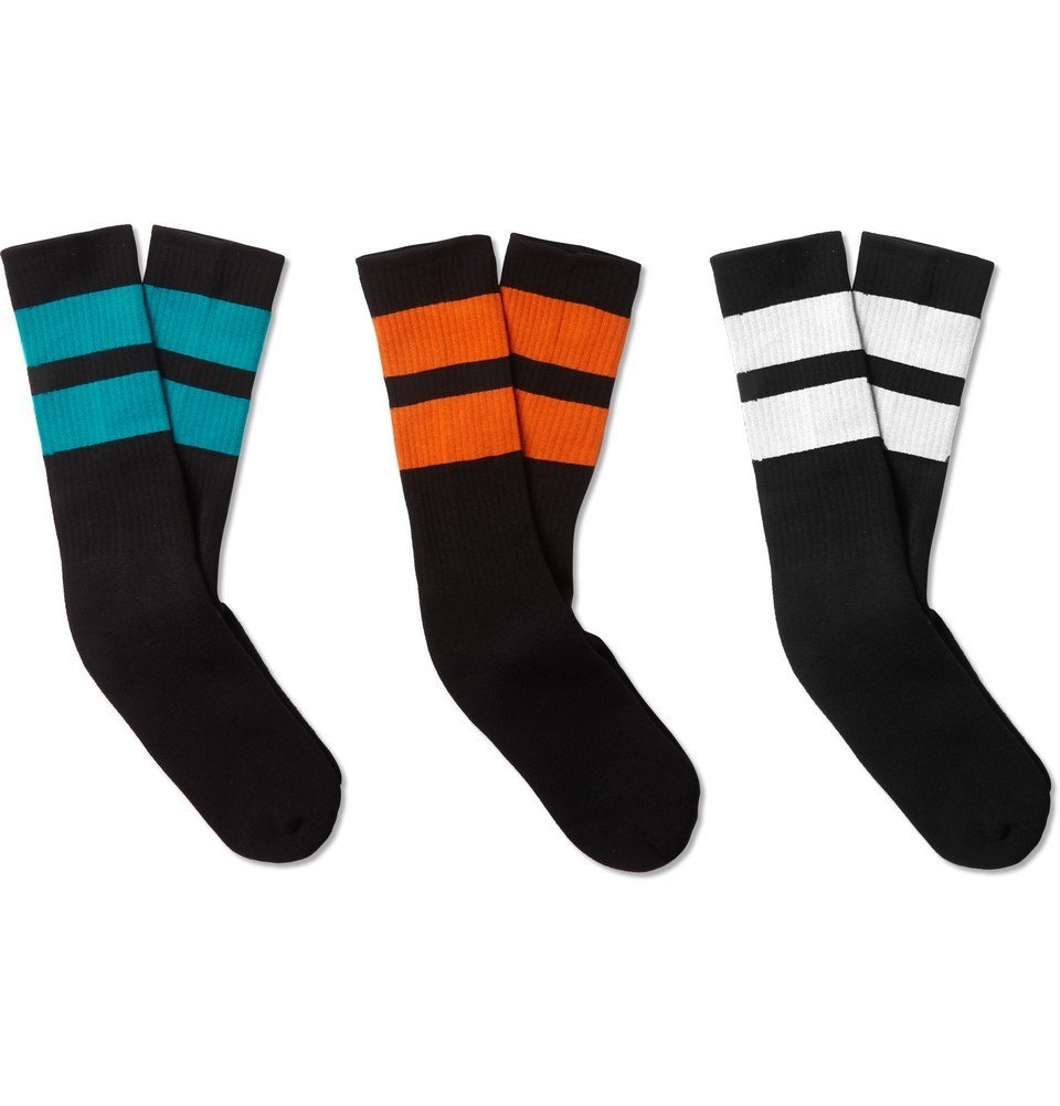 Photo: Neighborhood - Three-Pack Ribbed Striped Cotton-Blend Socks - Black