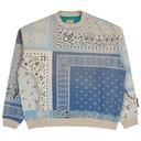 Kapital Fleecy Knit Bandana Bivouac Big Crewneck Sweatshirt Sax