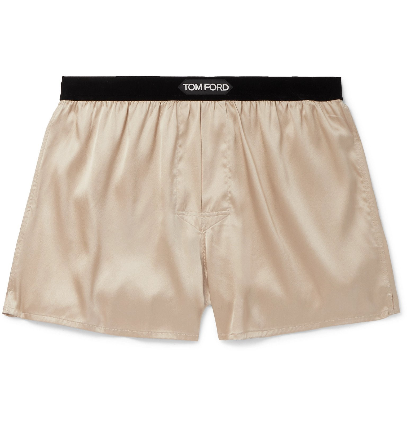 Photo: TOM FORD - Velvet-Trimmed Stretch-Silk Satin Boxer Shorts - Neutrals