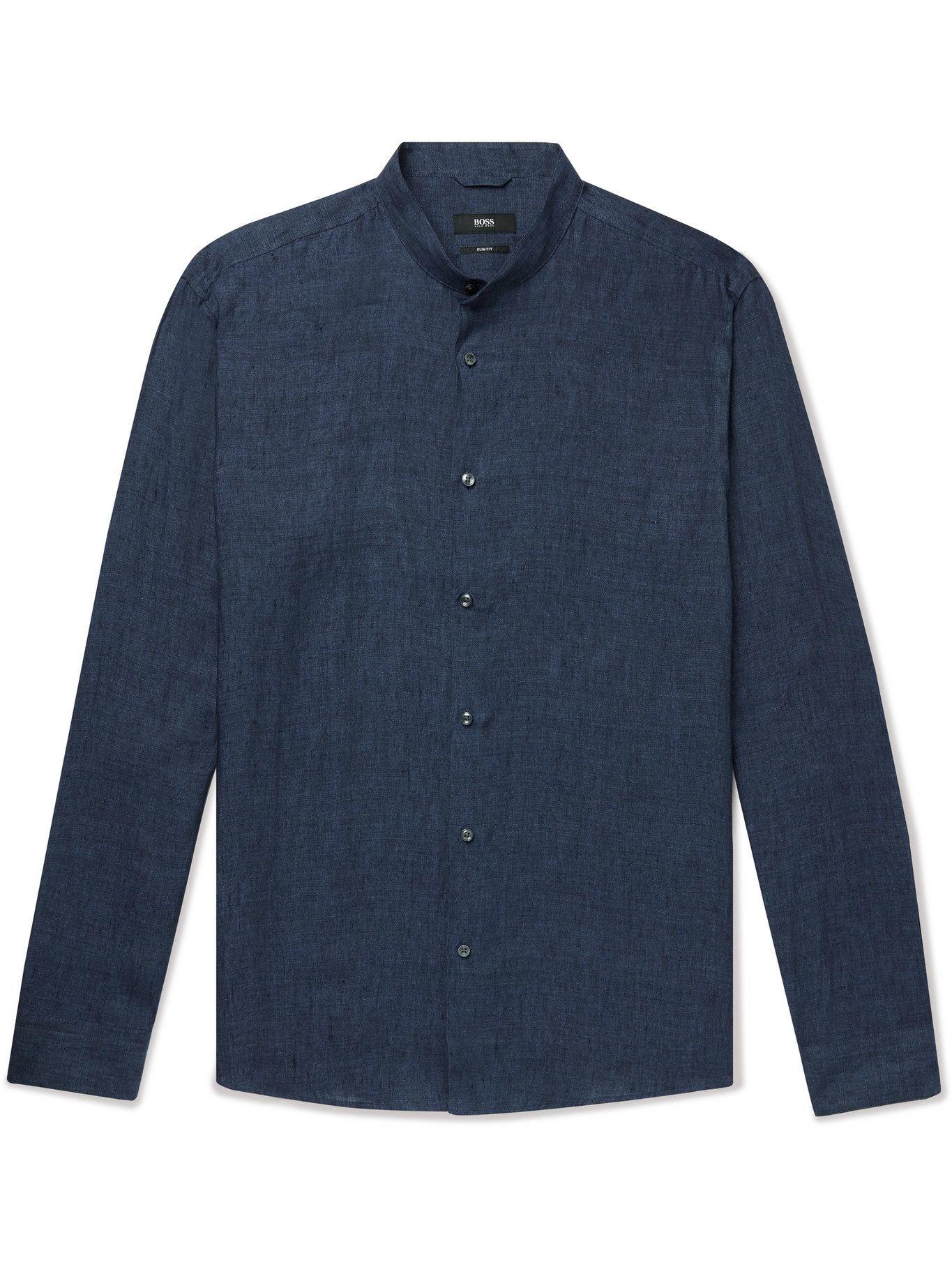 HUGO BOSS - Jordi Slim-Fit Grandad-Collar Linen Shirt - Blue