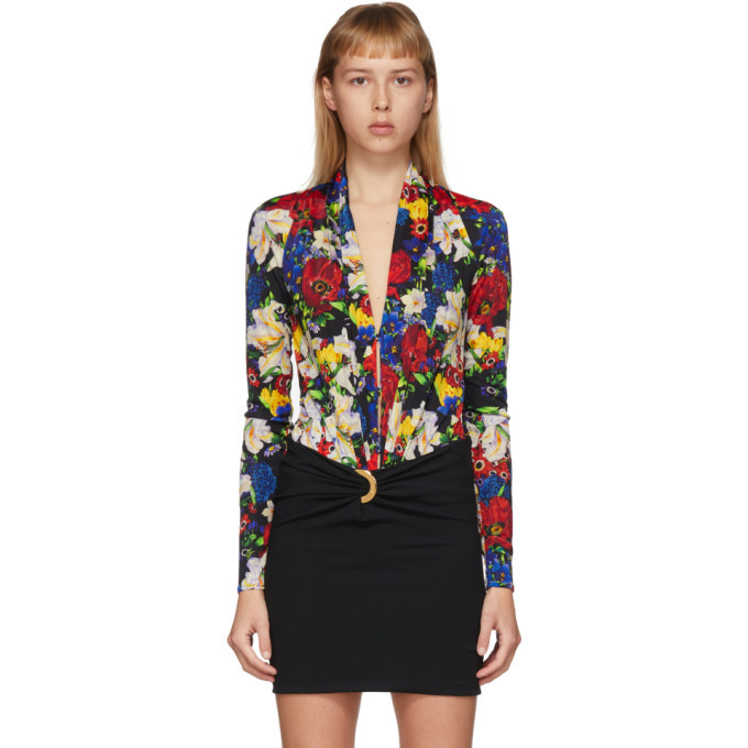 Photo: Versace SSENSE Exclusive Multicolor Floral Scoop Neck Bodysuit