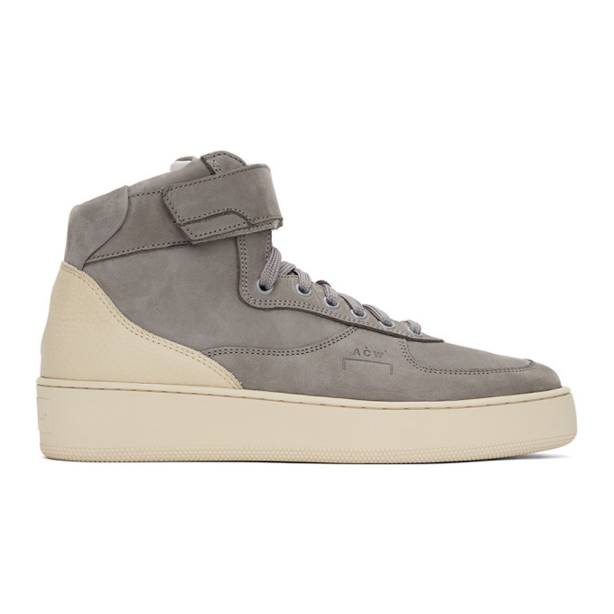 Photo: A-COLD-WALL* Grey Suede Rhombus Hi-Top Sneakers