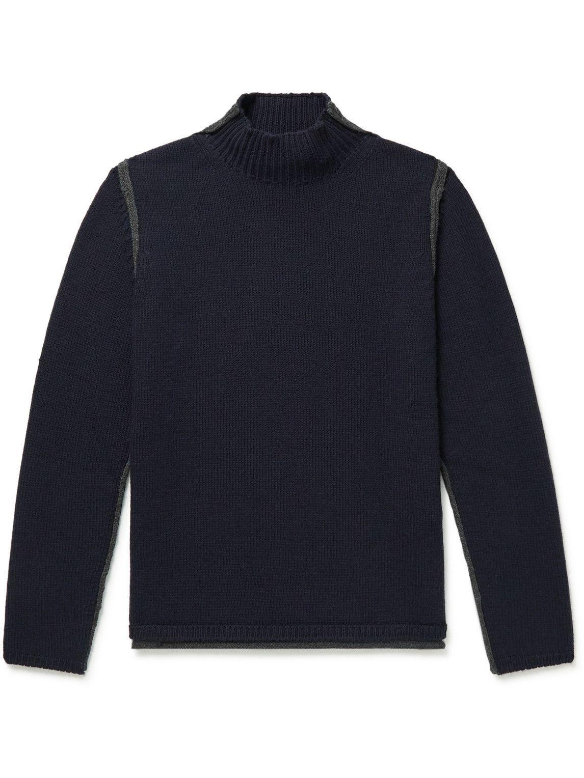 Photo: Giorgio Armani - Virgin Wool and Cashmere-Blend Mock-Neck Sweater - Blue
