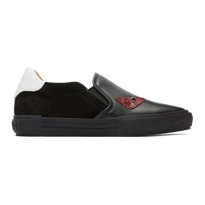 Photo: Fendi Black Bag Bugs Slip-On Sneakers