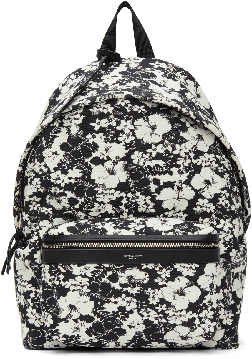Photo: Saint Laurent Black & White Hibiscus Toile Print City Backpack