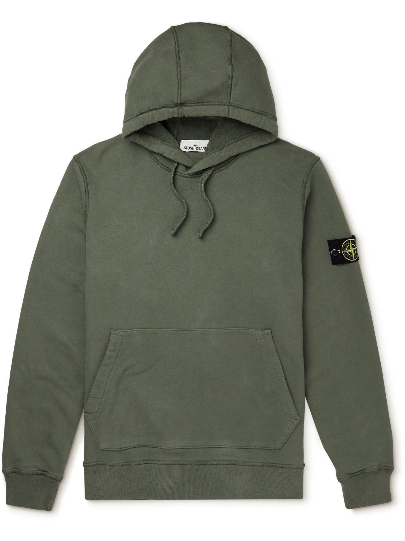 Photo: Stone Island - Logo-Appliquéd Cotton-Jersey Hoodie - Green