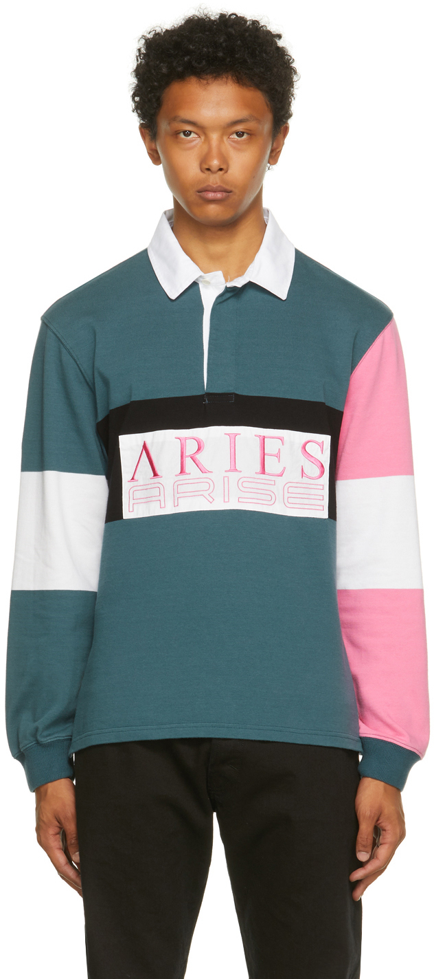 Aries Blue & Pink Colorblocked Rugby Long Sleeve Polo