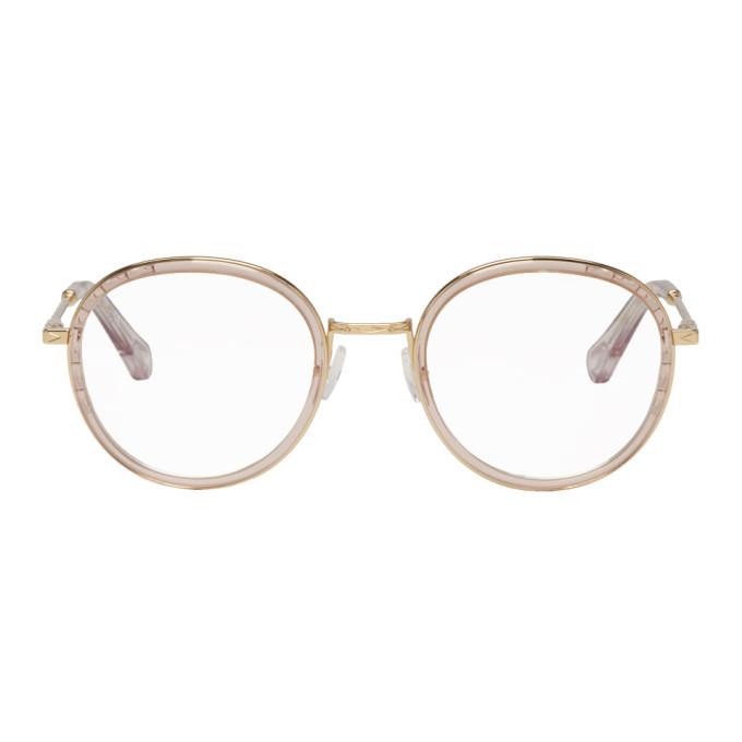 0dd157d75eda Photo  Chloe Pink and Gold Round Glasses