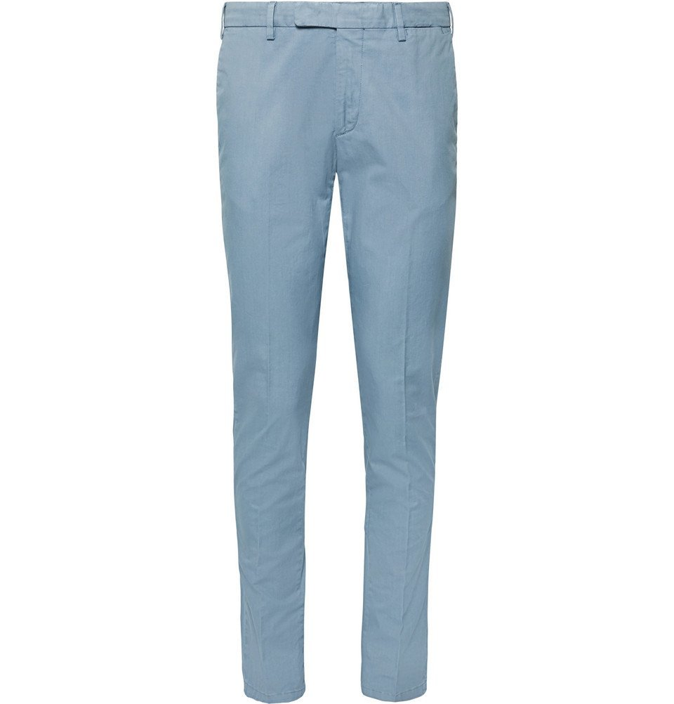 Photo: Boglioli - Slim-Fit Stretch-Cotton Twill Chinos - Light blue
