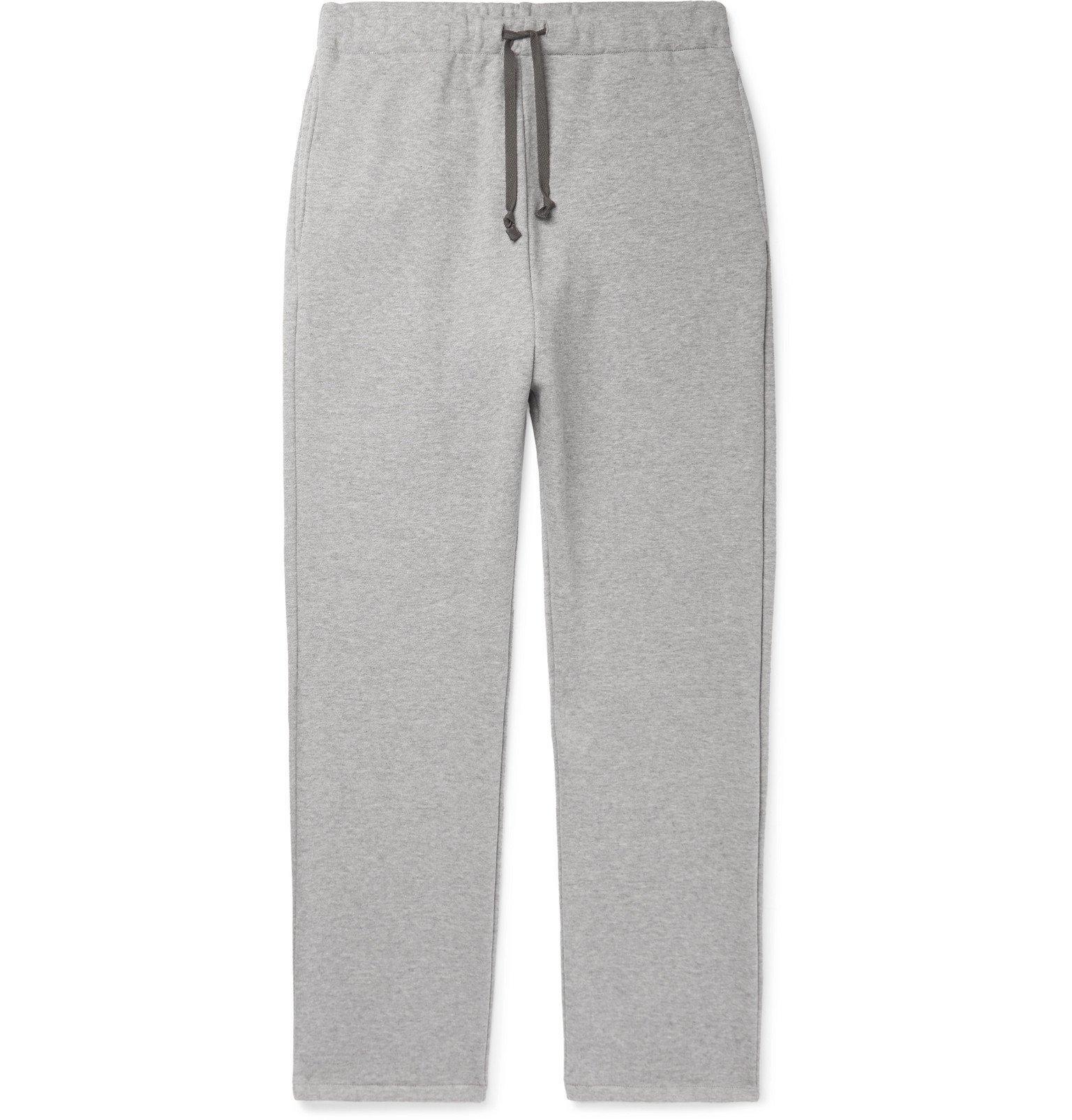 KAPITAL - Printed Mélange Loopback Cotton-Jersey Sweatpants - Gray