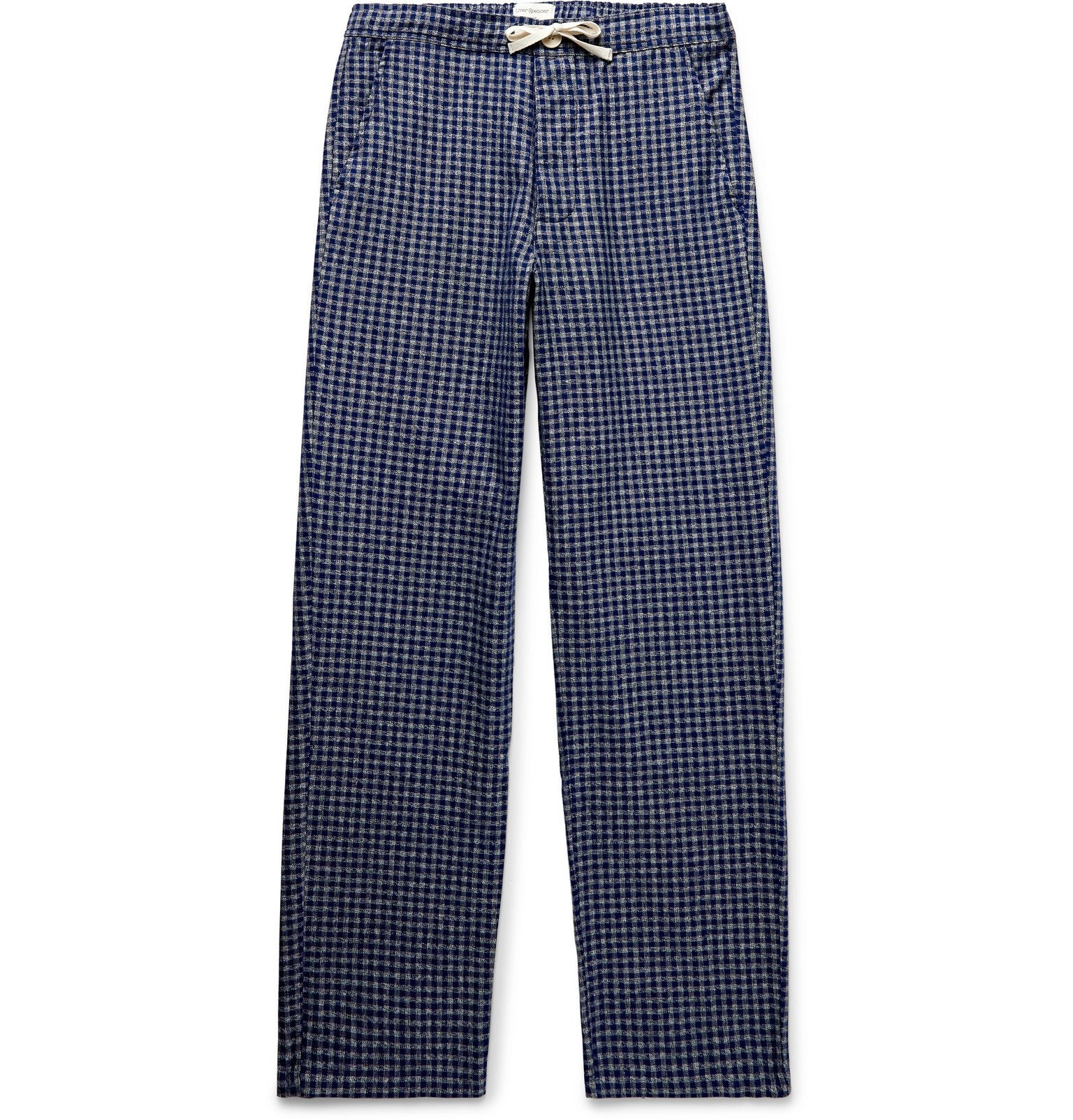 Photo: Oliver Spencer Loungewear - Cannington Gingham Cotton Drawstring Pyjama Trousers - Blue