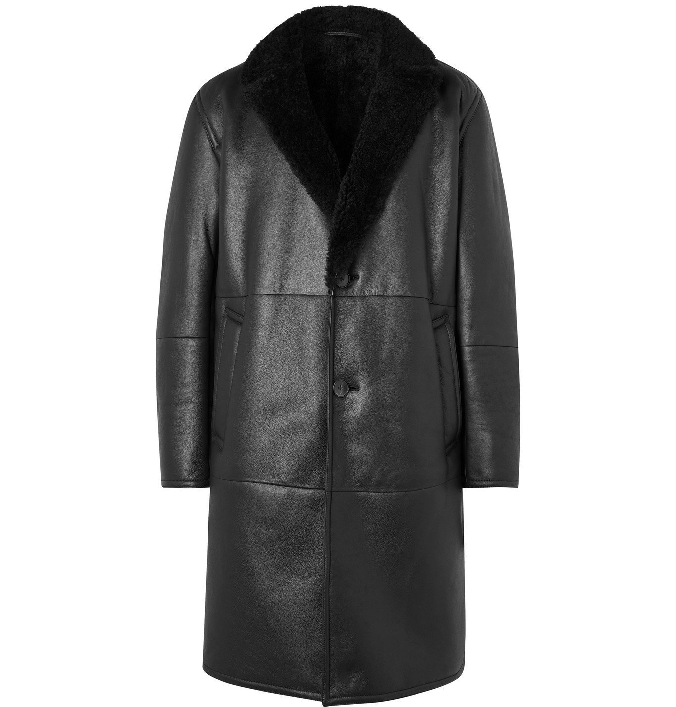 Photo: Mr P. - Shearling-Lined Leather Coat - Black
