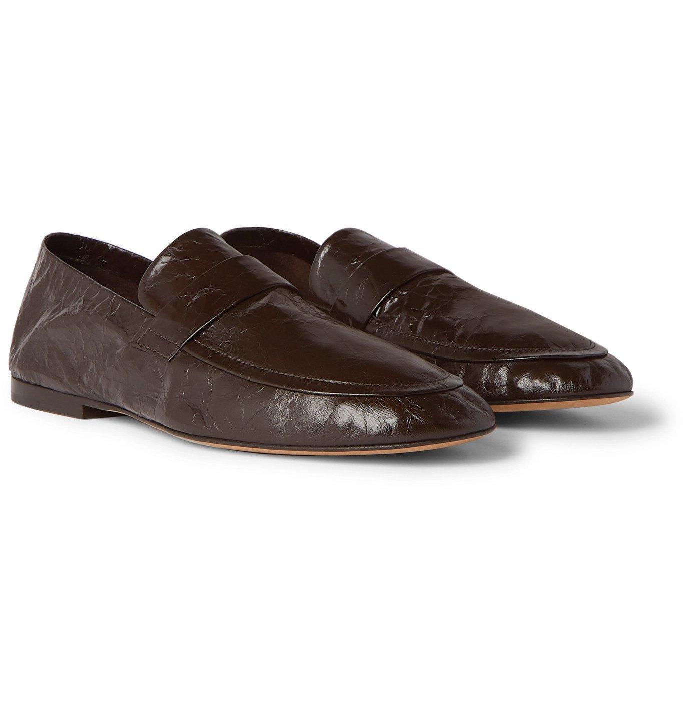 Photo: Bottega Veneta - Crinkled-Leather Loafers - Brown