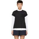 Sacai Black and Navy Hybrid Lace T-Shirt