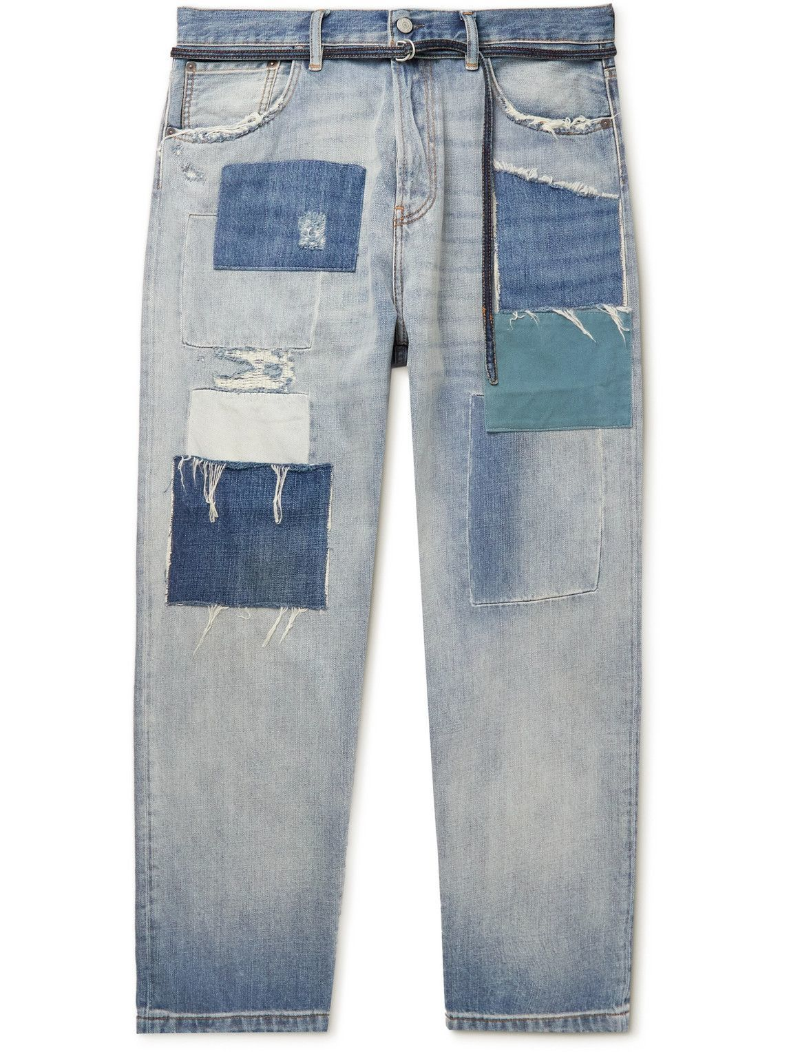 Photo: Acne Studios - 1991 Toj Straight-Leg Belted Distressed Patchwork Jeans - Blue
