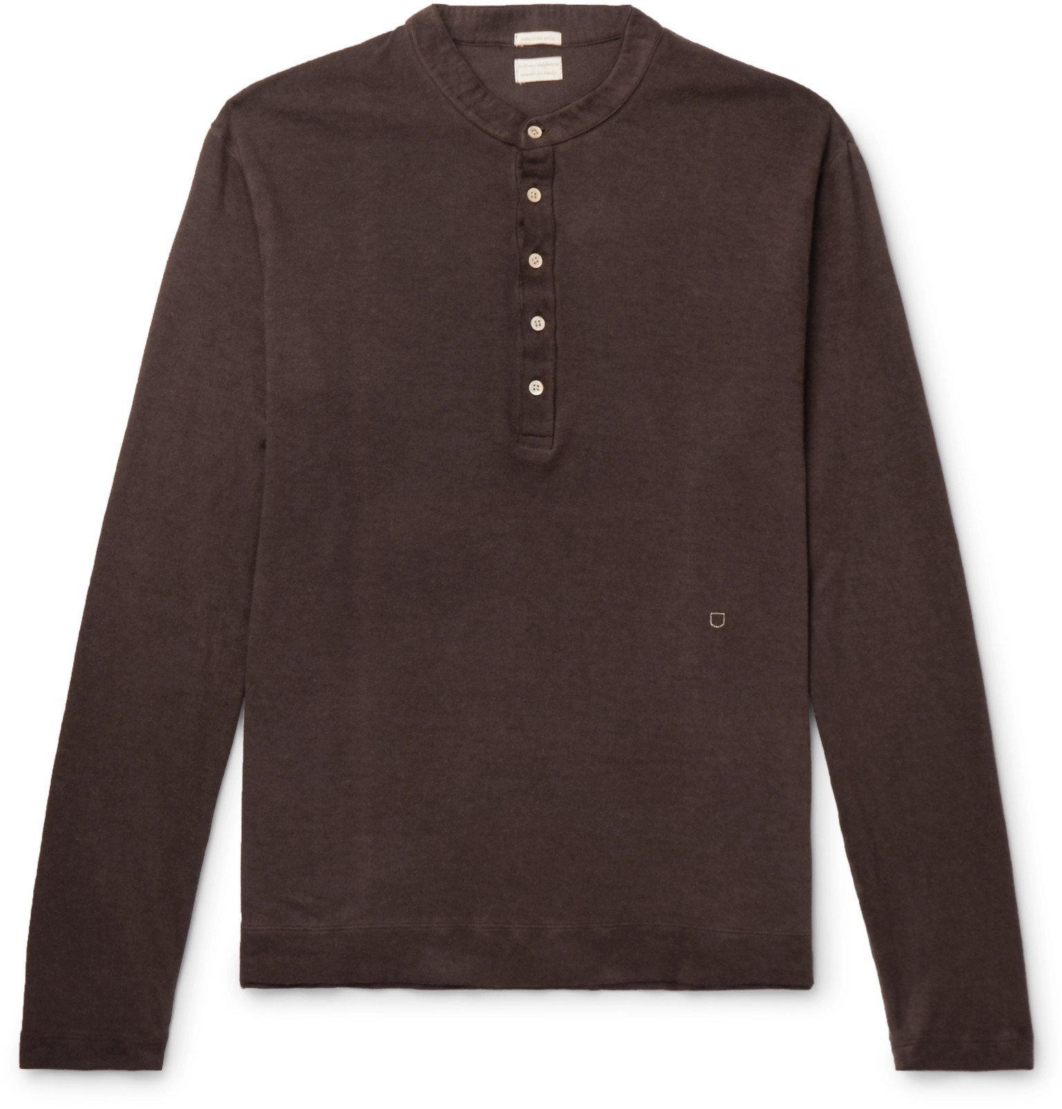 Photo: Massimo Alba - Hawai Watercolour-Dyed Cotton and Cashmere-Blend Henley T-Shirt - Brown
