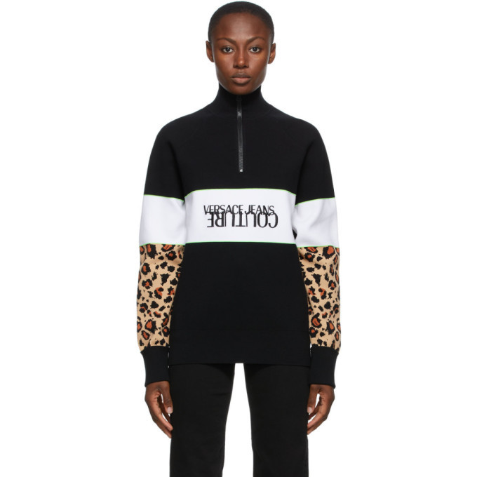 Photo: Versace Jeans Couture Black Leopard Sleeves Half-Zip Turtleneck