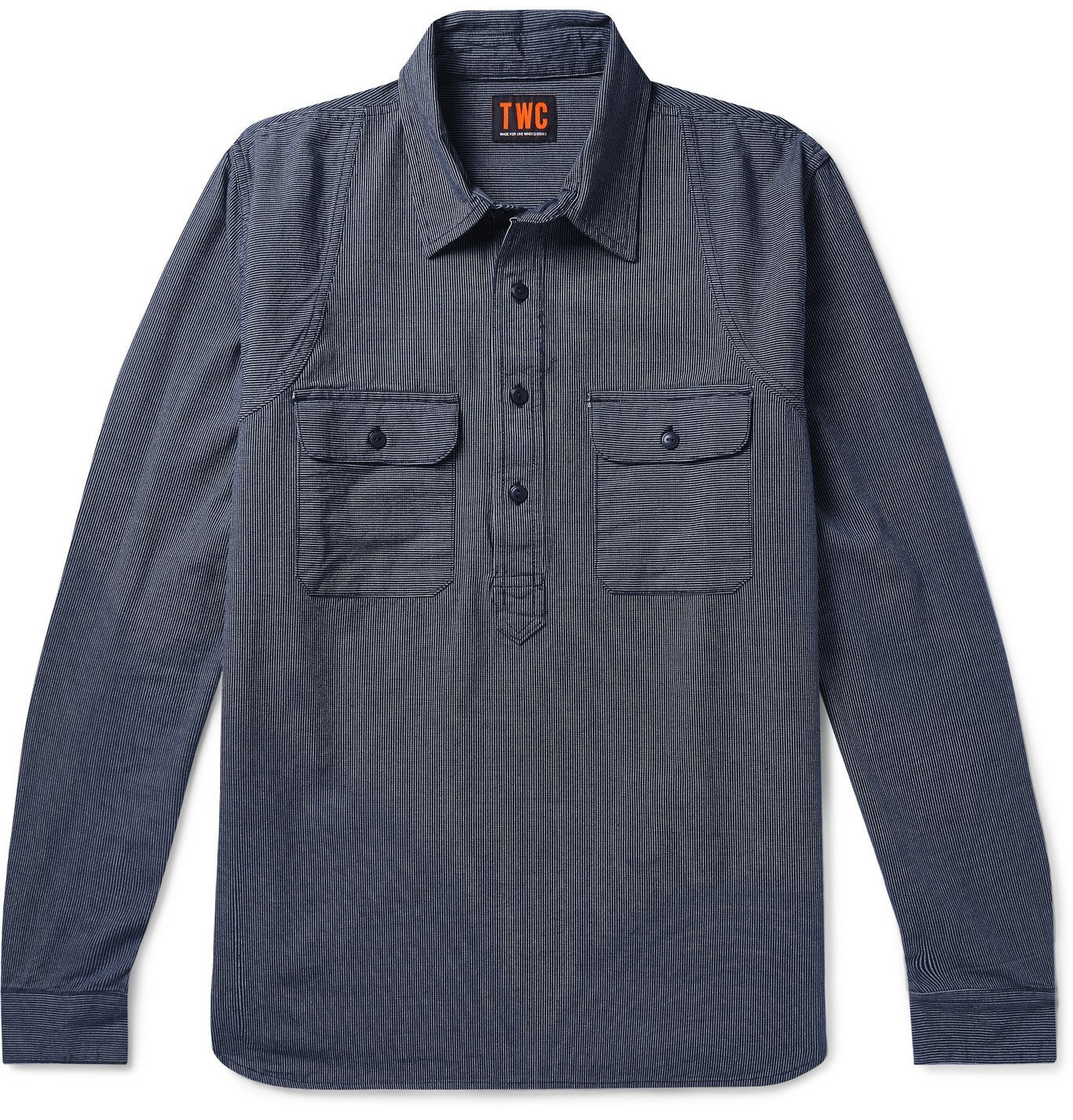 Photo: The Workers Club - Pinstriped Cotton Half-Placket Shirt - Blue