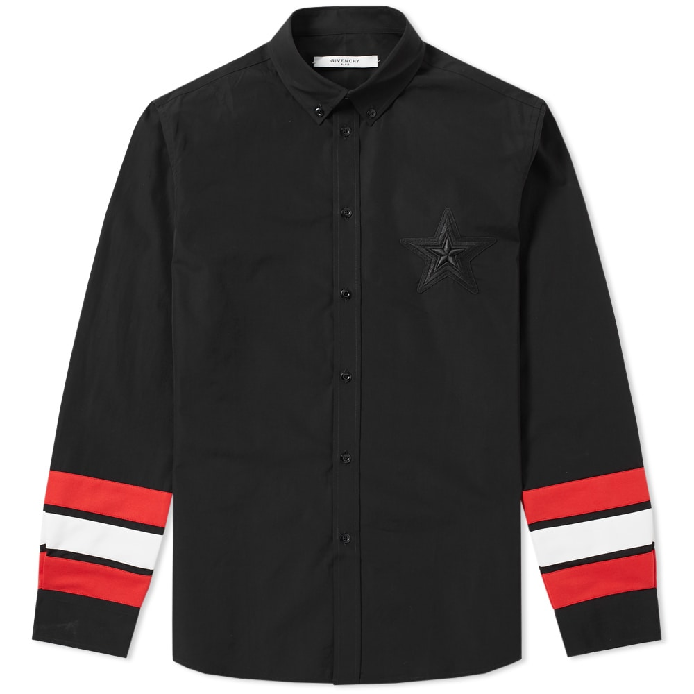 Photo: Givenchy Regular Star Embroidered Tape Sleeve Shirt