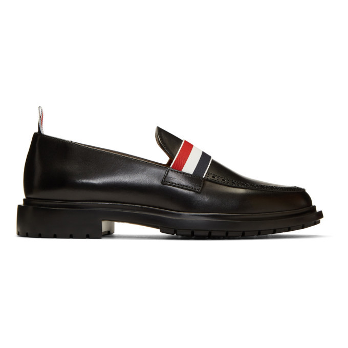 Photo: Thom Browne Black Tricolor Band Loafers