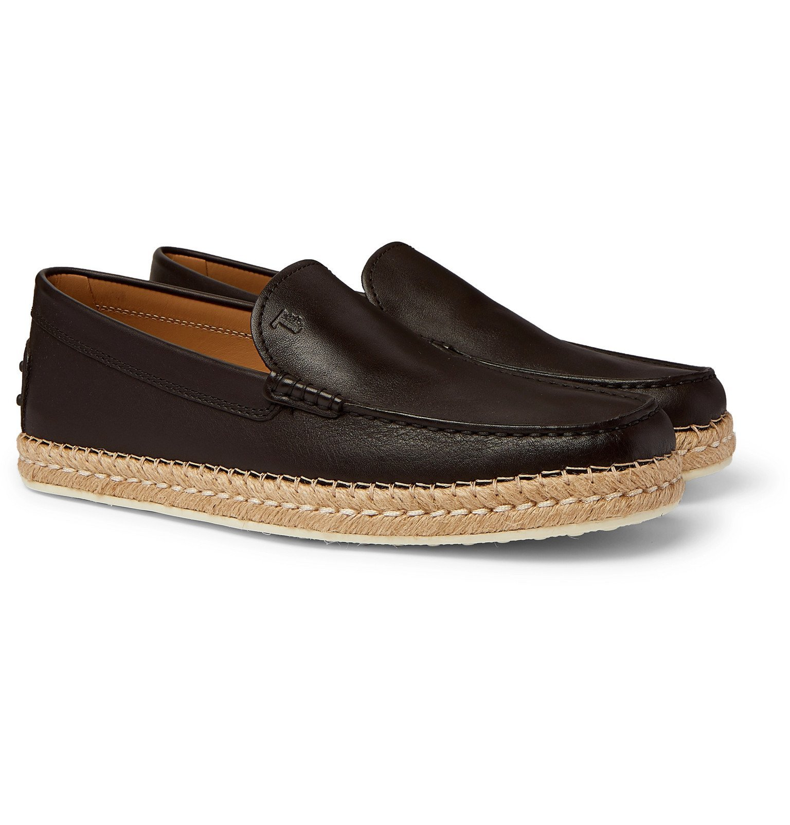 Photo: Tod's - Leather Espadrille Loafers - Brown