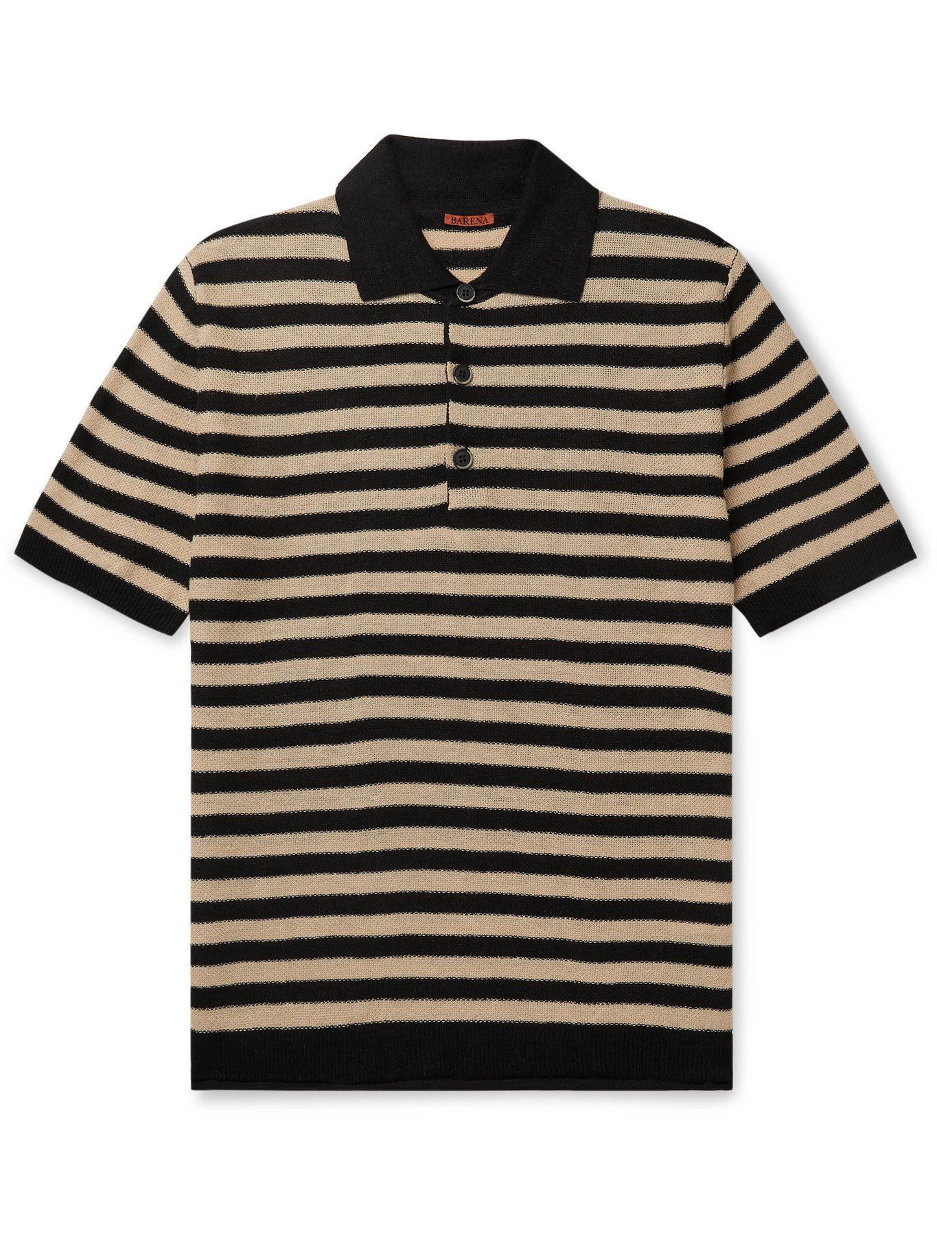 Photo: BARENA - Marco Striped Linen Polo Shirt - Black