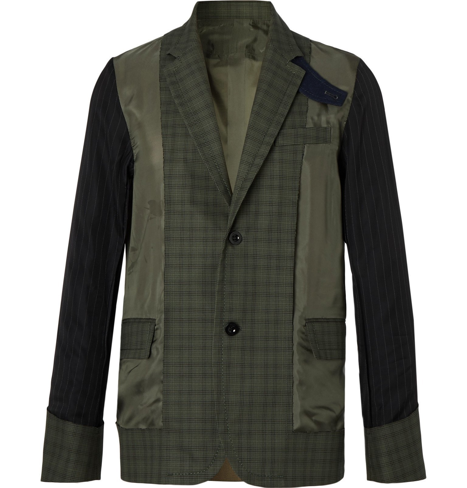 Sacai - Slim-Fit Shell-Panelled Prince of Wales Checked Cotton Jacket - Green
