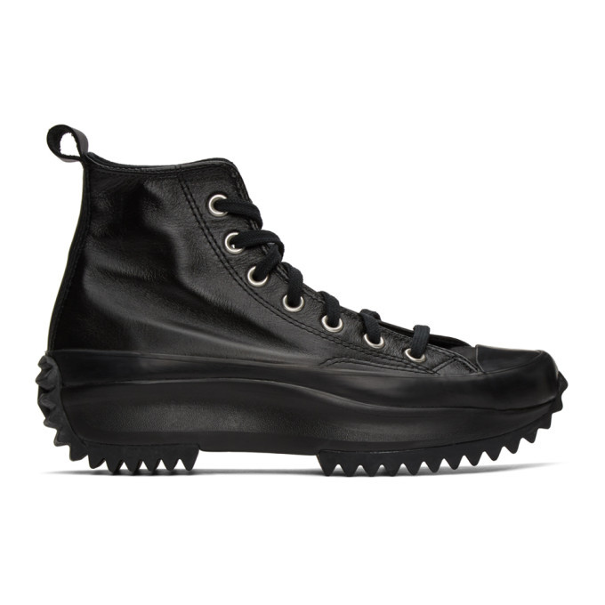 Photo: Converse Black Leather Run Star Hike High-Top Sneakers