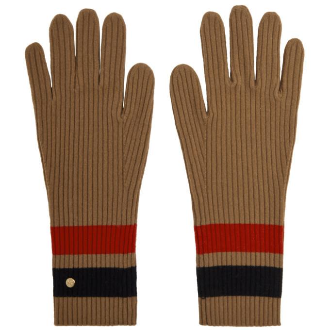 Photo: Burberry Tan Merino Monogram Gloves