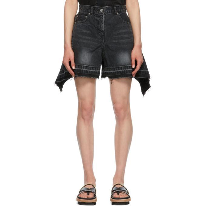 Sacai Black Denim Wide Shorts