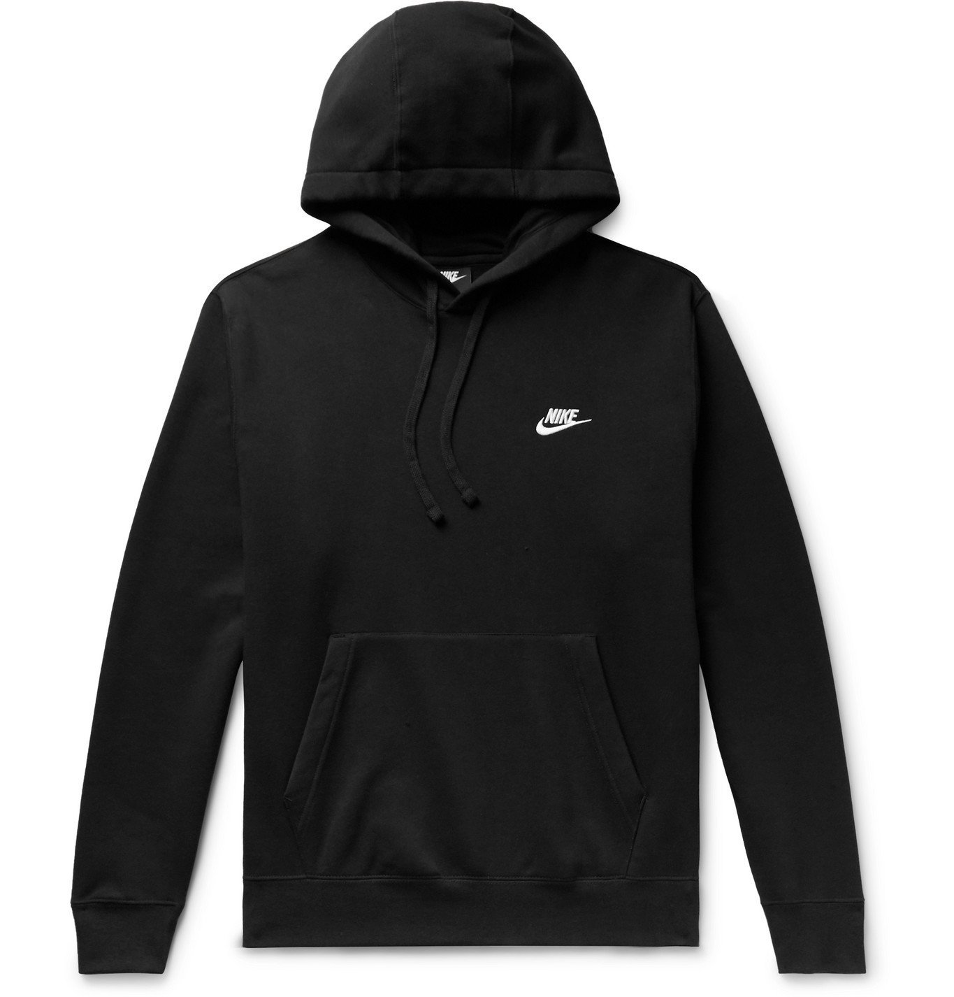 Photo: Nike - Logo-Embroidered Fleece-Back Cotton-Blend Jersey Hoodie - Black
