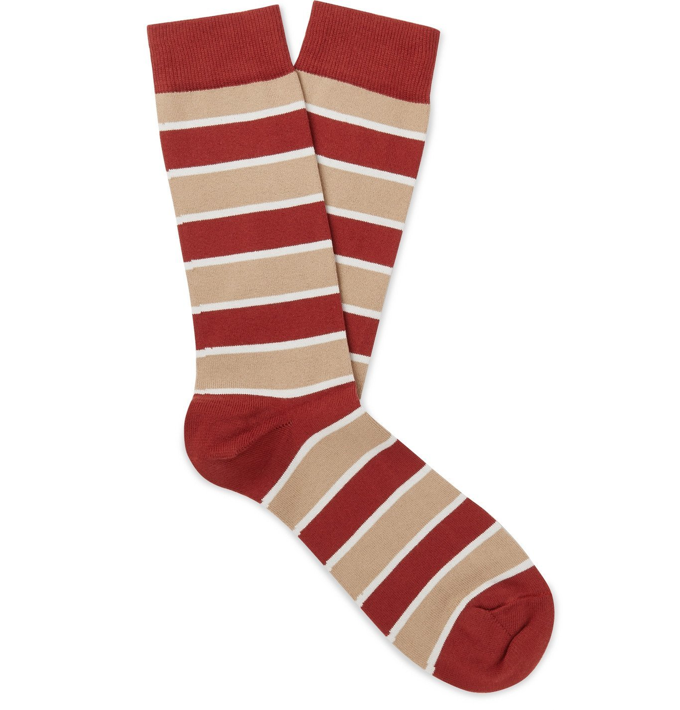 Photo: Sunspel - Striped Cotton-Blend Socks - Red