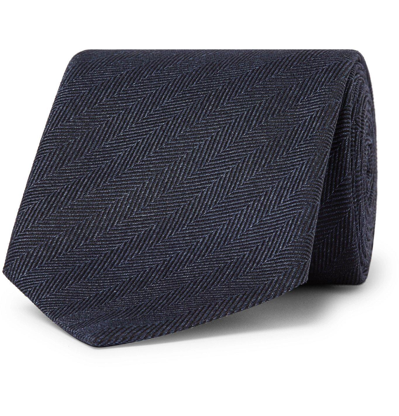 Photo: Ermenegildo Zegna - 8cm Herringbone Silk Tie - Blue